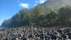 Taking a break from the hike on the Napali coast