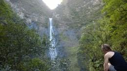Long shot of the falls
