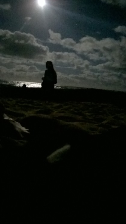 Full moon night on the beach