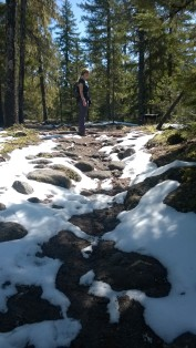 Temps in the 50's and sunny, so even with snow on the trails short sleeves were right for the uphill hike