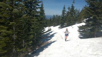 Beth coming up the last, and snowiest, leg of the trail.
