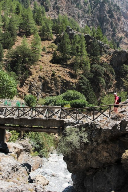Bridge to ghost town in Samaria Gorge, Crete