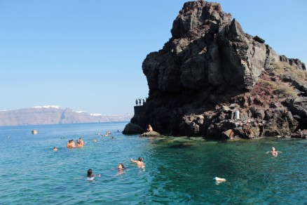 St. Nicholas church in the background of this Santorini swimming hole