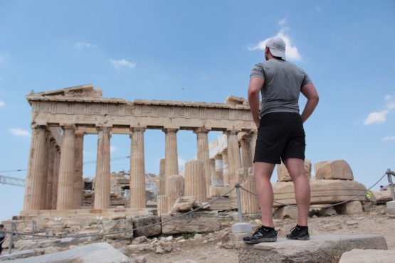 Matt posing in the Acropolis (could he have been an Ancient Greek muse??)