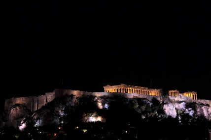 Acropolis night shot from our hotel rooftop bar