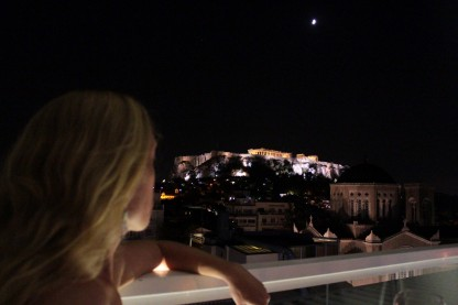 Acropolis night shot from our hotel rooftop bar -- just wanted you to see how close we were to it