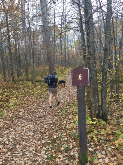 Hiking two rivers trail at St. Croix State Park