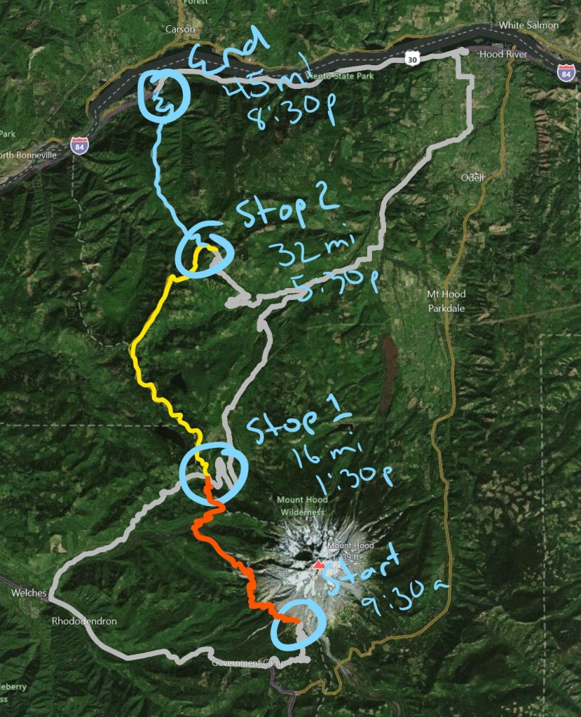 Mnt Hood to CRG map with resupply points.