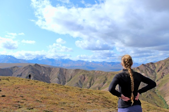 Check out Denali peak in the distance, peaking out from the clouds